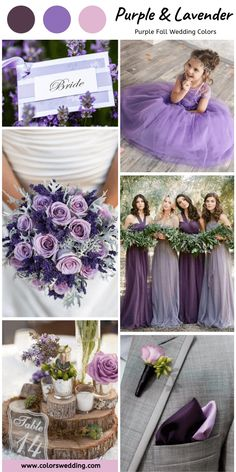 8 Perfect Purple Fall Wedding Color Palettes Purple + Lavender Wedding: mismatched purple bridesmaid dresses, lavender and purple flowers in bouquet, grey men suit with lavender and popular pocket squares, lavender flower girls dress and invitations. Lilac Wedding, Purple Wedding Flowers, Fall Wedding Colors, Flower Bouquet Wedding, Wedding Color Schemes, Spring Wedding, Lavender Weddings, Purple Fall Weddings, Wedding Theme Purple