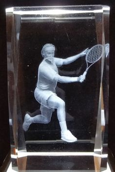 Tenis Player - Generic 3D Crystals - Ovid Gifts