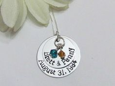Sterling Silver, Hand Stamped Personalized Jewelry by ExpressionsStamped 30th Wedding Anniversary, Anniversary Parties, Mrs Necklace, Hand Stamped Necklace, Parent Gifts, Sterling Silver Chains, Wedding Gifts, Personalized Gifts, Gift Ideas