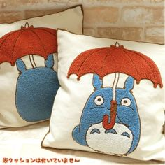 Totoro pillows - i think i have found my first big cross stitch project. I and to do this so bad!!! Maybe a body pillow with all of his amazing films!!