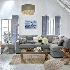 Marvelous Coastal Style Living Room Design and Decor Ideas - Page 54 of 66 Corner Sofa Living Room, Grey Corner Sofa, Living Room Grey, Home Living Room, Living Room Designs, Living Room Decor, Corner Sofa Cushions, Beach Living Room, Coastal Living Rooms
