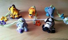 Crochet Little Zoo Mobile, tutorial with links to free crochet patterns on Look at What I Made