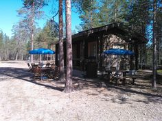 Our kiosk in Lapiosalmi Wilderness Center. Kiosk, Finland, Wilderness, Cottage, Cabin, House Styles, Plants, Cottages, Cabins