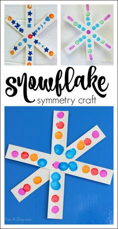 Snowflake craft for preschoolers - an easy set up that lets kids explore patterns, symmetry, and art The kids will love this simple snowflake craft, and it is so simple to set up! You just need a few materials, and the kids explore math while crafting. Winter Activities For Kids, Winter Crafts For Kids, Winter Kids, Kids Crafts, Winter Preschool Crafts, Winter Crafts For Preschoolers, Cup Crafts, Winter Snow, Snowflakes Art