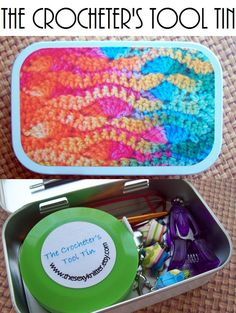 The Crocheter's Tool Tin for your Crochet Project Bag. Just toss The Crocheter's Tool Tin in your project bag and you know you've got everything you need!{ via Etsy.}