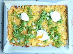 Noch nie waren Rösti so einfach! Blech-Rösti mit pochierten Eiern / Never had Rösti been so easy! Oven baked Rösti with poached eggs