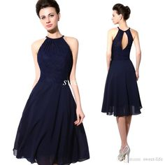 2015 Cheap Short Party Dresses Navy Blue Lace Halter Open Back A Line Chiffon…