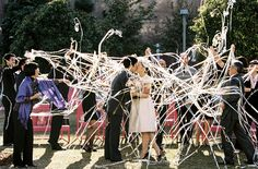 Love these streamers!   Downtown LA  wedding | photos by Braedon Flynn | 100 Layer Cake