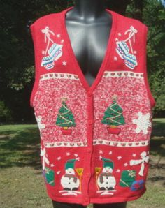 Ugly Christmas Sweater Vest Snowmen Christmas Tree by kinseysue