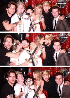 Louis, Niall, Ed, Taylor, Calvin Harris, and (apparently) Taylor's brother at the BBMA's after party