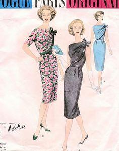 1950s  PATOU Cocktail Evening Dress Pattern Vogue Paris Original 1465  2 Pc  ASYMMETRICAL Front Drape High or Low Back  Bust 34 Vintage Sewing Pattern UNCUT