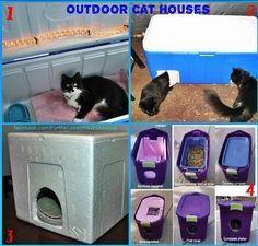 Casas De Gatos Para El Exterior Para El Invierno Casas De Gato Al Aire Libre De Bajo Costo Una Visita Obli Outdoor Cat Shelter Outdoor Cat House Cat Shelter