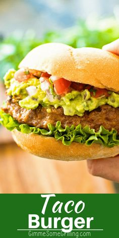 Delicious, juicy hamburgers with a kick from taco seasoning! These burgers are piled with homemade guacamole, pico de gallo and lettuce and served on a toasted bun! via Best Grilling Recipes Turkey Burger Recipes, Dog Recipes, Wrap Recipes, Grilling Recipes, Lunch Recipes, Summer Recipes, Mexican Food Recipes, Beef Recipes, Dinner Recipes