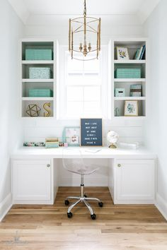 Home Office Built in Desk. Home Office Built in Desk. Home Office White Built in Desk and aqua accessories. The brass lantern is from Ballard Designs. Me: Built in area for home office just off the kitchen cabinets Small Space Office, Home Office Space, Home Office Desks, Small Spaces, Office Furniture, Desk Space, Furniture Ideas, Desk Nook, Small Workspace