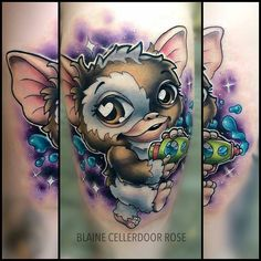 Gizmo In Space by @blainecellerdoorrose at Rusty Anchor Tattoo in Berlin Germany. #gizmo #gremlin #blainecellerdoorrose #rustyanchortattoo #berlin #germany #tattoo #tattoos #tattoosnob