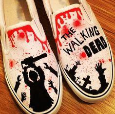 The Walking Dead Shoes, Custom Shoes, Custom Converse, Converse Allstars, Vans Shoes, Painted Shoes