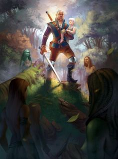 This is from the Witcher books when Gerralt and Ciri were in the dryads' home Brokolon. You can see one of the green Dryads women in the back. Best novels ever. #witcher #thewitcher #darkfantasy