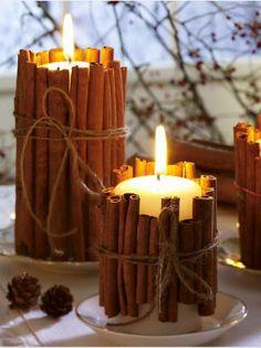 Velas + canela. Decoração criativa + cheirinho bom pela casa.