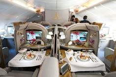 Travel - The luxurious Emirates Airbus for first class passengers (ILA Berlin Airshow First Class Airline, Emirates First Class, Flying First Class, First Class Flights, First Class Seats, Emirates Airbus, Emirates Airline, Airbus A380, Luxury Jets