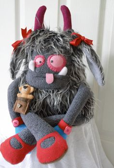 Scary girl plush monster Horror doll Monster toy by Knitwangling