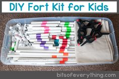 This DIY Fort Kit for Kids is the perfect way to entertain your kiddos! You'll need: pvc pipe, elbows, and tees, canvas drop cloth, and spring clamps. Rainy Day Activities, Indoor Activities, Craft Activities, Preschool Ideas, Summer Activities, Kits For Kids, Projects For Kids, Crafts For Kids, Stem Projects