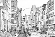 401 Broadway - New York. Drawings of our Lives Depicted in Urban Sketches. To see more art and information about Tom Hopkinson click the image. Beach Coloring Pages, Colouring Pages, Adult Coloring Pages, Free Coloring, Coloring Sheets, Coloring Books, New York Drawing, City Drawing, Broadway New York