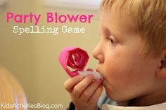 Fun party blower kids spelling game