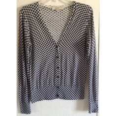 Ann Taylor Loft Blue Pattern Cardigan Excellent condition. Little to no wash wear. Really cute Ann Taylor Loft cardigan sweater. Light 100% cotton fabric. Super soft. Blue ombre mod floral chain pattern. Blue buttons up the front. V-neck. Ribbed hem and cuffs. Size small. +All offers welcome Ann Taylor Sweaters Cardigans