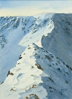 Another view of Striding Edge from the start in watercolour.