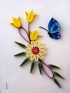 Quilled Flowers & Butterfly