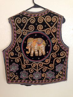 sacred Elephant embroidered vest by justpassingthrough13 on Etsy, $40.00