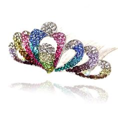Prom Collection Crystal Sparkly Hair Comb Multi - 4EverBling