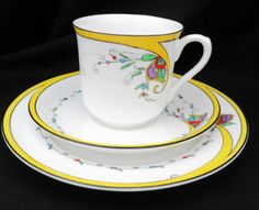 SHELLEY-VINCENT-YELLOW-flame-TEA-CUP-AND-SAUCER-TRIO