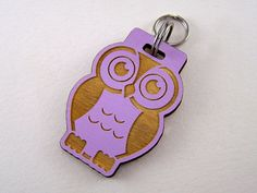 Owl Pet ID Tag Hand Painted  Wood Dog Tag  Colored by Cropscotch, $16.49