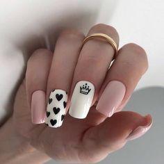 Heart Nail Designs, Valentine's Day Nail Designs, Acrylic Nail Designs, Nails Design, Crown Nail Art, Crown Nails, Nails Yellow, Pink Nails, My Nails