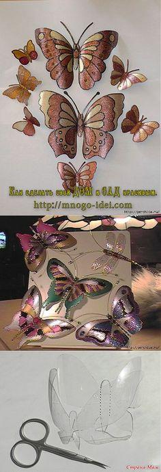 Las mariposas de las botellas de plástico - el maestro las clases y los modelos.
