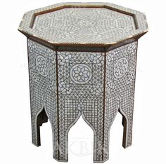Picture of Style # 1717 - Hand-inlaid Moroccan style, Syrian side table with Mother of pearl.