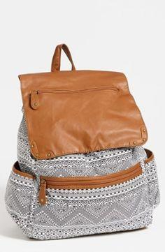 Lulu Faux Leather Flap Print Backpack by ola