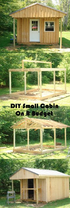 How to build a cabin on a budgetDIY How do I build a small cabin on a budget? MoreHow do I build a cabin on a budget? DIY How do I build a small cabin on a budget? Building A Small Cabin, Building A Shed, Building Plans, Diy Storage Building, Diy Storage Shed, Storage Room, Tool Storage, Outdoor Projects, Home Projects
