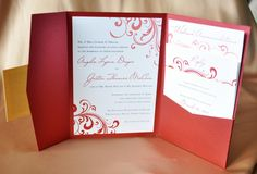 Red Swirl with Gold Accents Pocketfold Wedding Invitations - I like this, but it might be a bit too fussy for us.