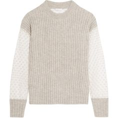 See by Chloé Knitted and embroidered tulle sweater (€395) ❤ liked on Polyvore featuring tops, sweaters, light gray, see by chloe sweater, see by chloe top, transparent tops, sheer embroidered top and see by chloé