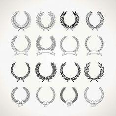 Monochrome wreaths set vector - Free Download - CGIspread