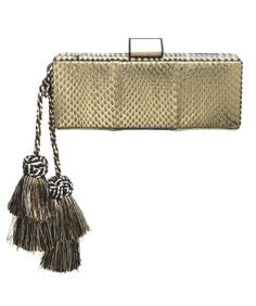 Skinny Trunk named Jasmina. Distressed Gold with Beige/Black Stripe printed Viper snake. Oversized double layer multicolor  hand made tassels. SS 2014