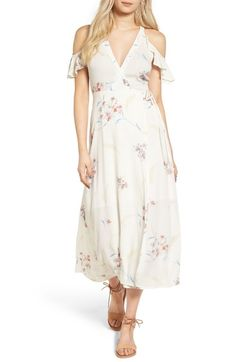 Main Image - Lush Floral Cold Shoulder Midi Dress