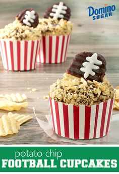 These potato chip cupcakes turn two game day snacks into one delicious sweet! Pipe laces onto chocolate covered potato chips for a crispy football look that gives your cupcakes a salty finish.