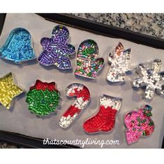 perler bead cookie cutter ornament. just 10 minutes in 400 deg oven. easy fun and fast!