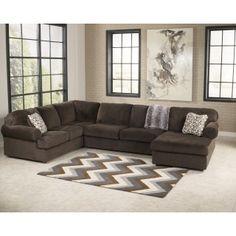 Ashley Furniture Signature DesignJessa Place Chocolate 3 Piece Sectional