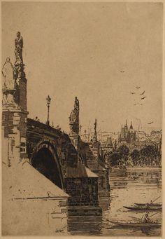 Jan C. Vondrous(Czech, 1884-1956) Karlův most Charles Bridge  1931 etching