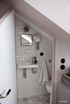 Amazing Attic renovation cost uk,Attic bathroom wall and Attic remodel to bedroom. Understairs Toilet, Bathroom Under Stairs, Under The Stairs Toilet, Basement Bathroom, Tiny Powder Rooms, Small Attics, Tiny Bathrooms, Small Attic Bathroom, Small Toilet Room