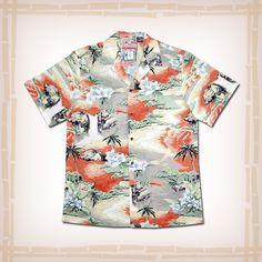 "RJC Hawaiian Shirt ""Island Scene"" Orange. Coconut shell buttons & matching print engineered chest pocket 100% Cotton | Made In Hawaii | FREE SHIPPING ALWAYS"